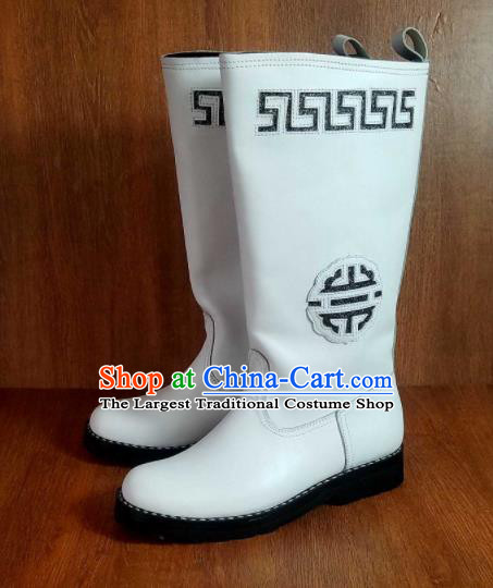 Traditional Chinese Mongol Nationality White Carving Leather Boots Mongolian Minority Folk Dance Shoes for Men