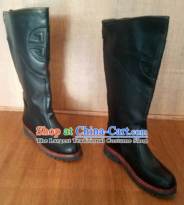 Traditional Chinese Mongol Nationality Black Leather High Boots Mongolian Minority Folk Dance Shoes for Men