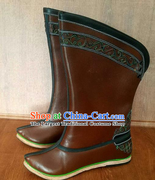 Traditional Chinese Mongol Ethnic Handmade Brown Leather Boots Mongolian Minority Folk Dance Shoes for Men