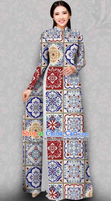 Asian Vietnam Traditional White Dress Bride Costume Vietnamese National Classical Ao Dai Cheongsam for Women