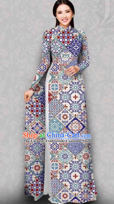 Asian Vietnam Traditional Printing Dress Bride Costume Vietnamese National Classical Ao Dai Cheongsam for Women