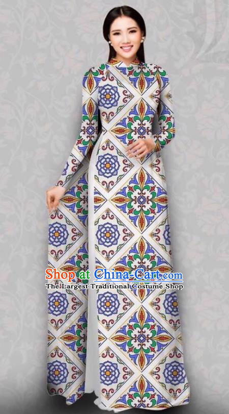Asian Vietnam Traditional Printing Flowers Dress Bride Costume Vietnamese National Classical Ao Dai Cheongsam for Women