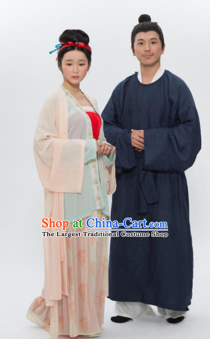 Traditional Chinese Song Dynasty Replica Costume Ancient Childe and Young Mistress Hanfu Clothing Complete Set