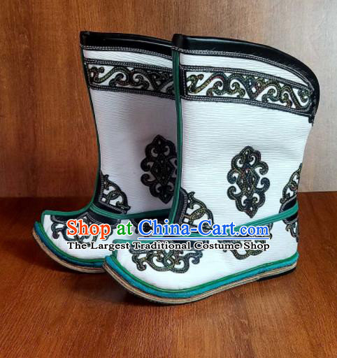 Traditional Chinese Mongol Ethnic Embroidered White Leather Boots Mongolian Minority Folk Dance Shoes for Kids