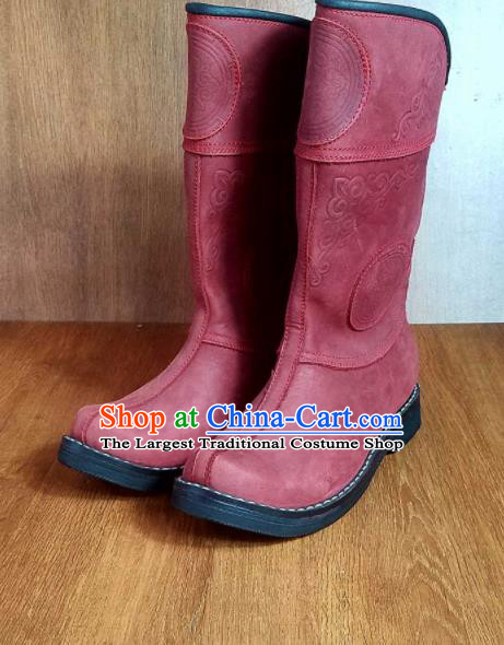 Traditional Chinese Mongol Ethnic Red Leather Boots Mongolian Minority Folk Dance Handmade Shoes for Men