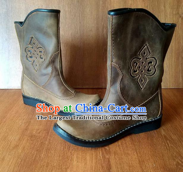 Traditional Chinese Mongol Ethnic Khaki Leather Boots Mongolian Minority Folk Dance Handmade Shoes for Men