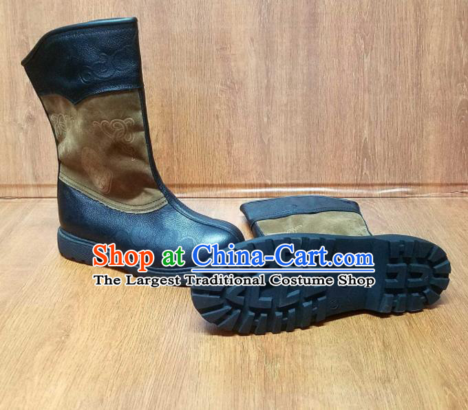 Traditional Chinese Mongol Ethnic Black Leather Boots Mongolian Minority Folk Dance Shoes for Kids