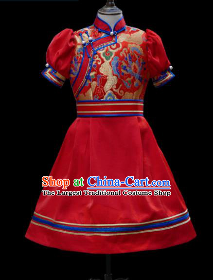 Traditional Chinese Mongol Ethnic Red Short Dress Mongolian Minority Folk Dance Clothing for Kids