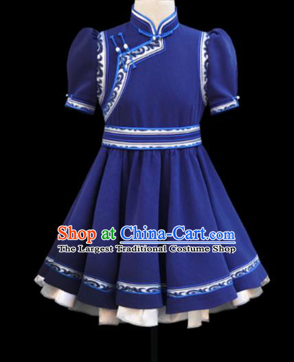 Traditional Chinese Mongol Ethnic Navy Short Dress Mongolian Minority Folk Dance Clothing for Kids