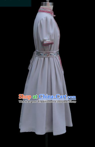 Traditional Chinese Mongol Ethnic Light Grey Dress Mongolian Minority Folk Dance Clothing for Kids