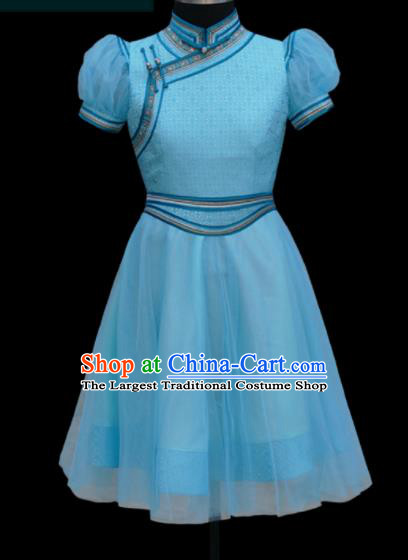 Traditional Chinese Mongol Ethnic Light Blue Dress Mongolian Minority Folk Dance Clothing for Kids