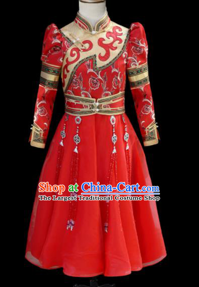 Chinese Traditional Mongol Ethnic Red Dress Mongolian Minority Folk Dance Clothing for Kids
