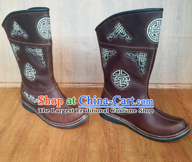 Traditional Chinese Mongol Ethnic Brown Leather Boots Mongolian Minority Folk Dance Handmade Shoes for Men