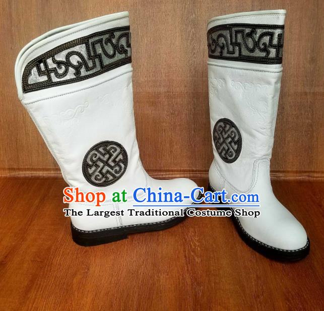 Traditional Chinese Mongol Ethnic Embroidered White Leather Boots Mongolian Minority Folk Dance Handmade Shoes for Men