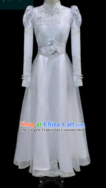 Traditional Chinese Mongol Ethnic Bride White Dress Mongolian Minority Folk Dance Embroidered Costume for Women