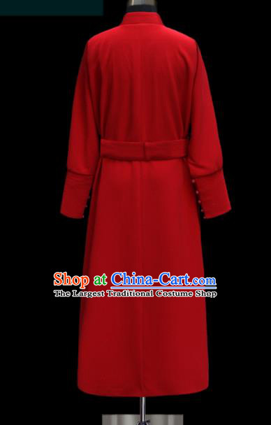 Chinese Traditional Mongol Ethnic Wedding Red Robe Mongolian Minority Folk Dance Costume for Men