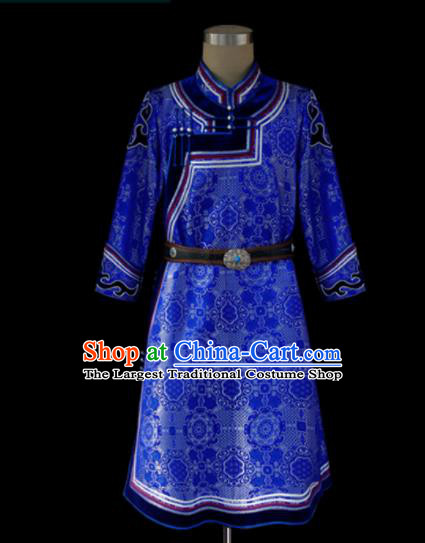 Chinese Traditional Mongol Ethnic Royalblue Dress Mongolian Minority Folk Dance Clothing for Kids