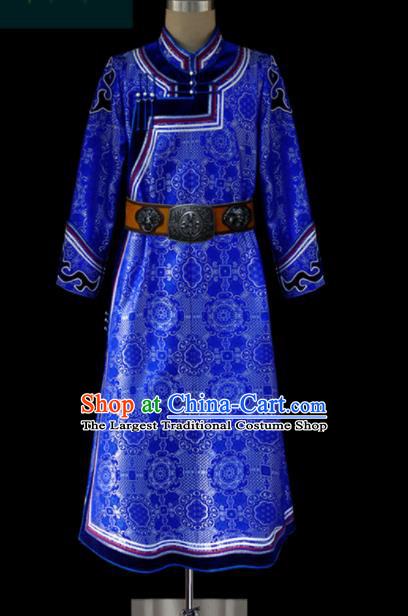 Chinese Traditional Mongol Ethnic Wedding Royalblue Robe Mongolian Minority Folk Dance Costume for Men