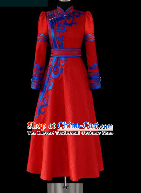 Traditional Chinese Mongol Ethnic Wedding Red Dress Mongolian Minority Folk Dance Embroidered Costume for Women