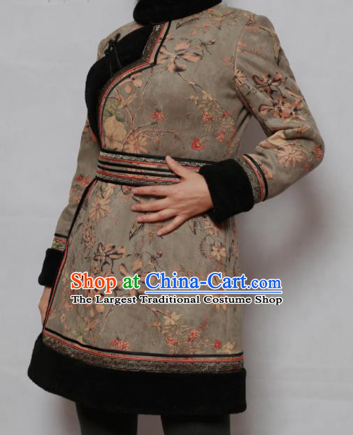 Traditional Chinese Mongol Ethnic Grey Cotton Wadded Jacket Mongolian Minority Folk Dance Costume for Women