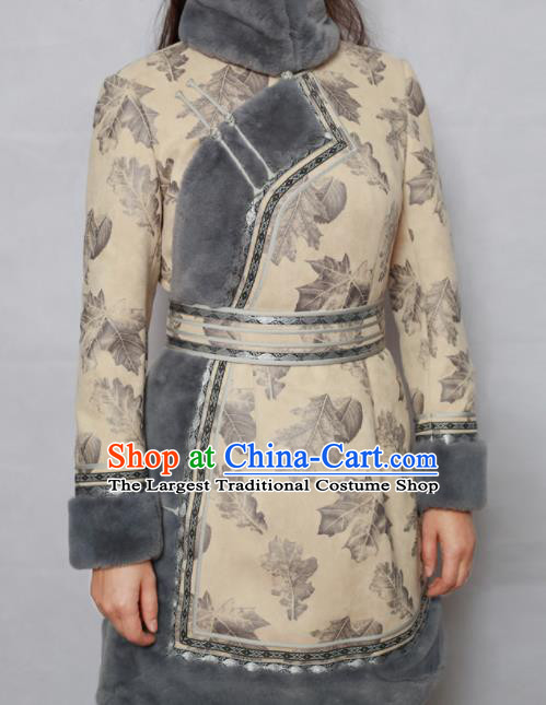 Traditional Chinese Mongol Ethnic Beige Cotton Wadded Jacket Mongolian Minority Folk Dance Costume for Women