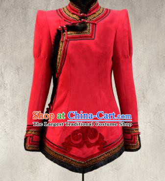 Traditional Chinese Mongol Ethnic Red Suede Cotton Wadded Jacket Mongolian Minority Folk Dance Costume for Women