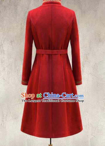 Traditional Chinese Mongol Ethnic Red Suede Coat Mongolian Minority Folk Dance Costume for Women