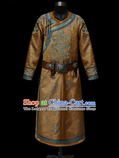 Chinese Traditional Mongol Ethnic National Ginger Robe Mongolian Minority Folk Dance Costume for Men