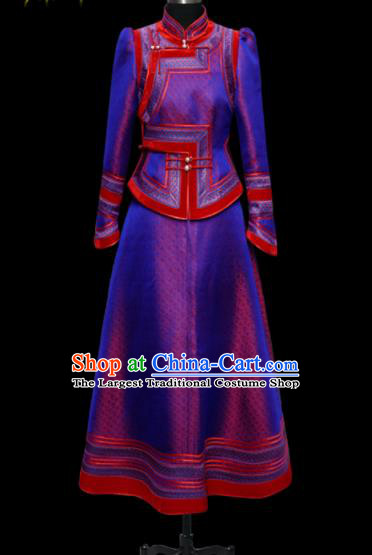 Traditional Chinese Mongol Ethnic Wedding Light Purple Dress Mongolian Minority Folk Dance Costume for Women