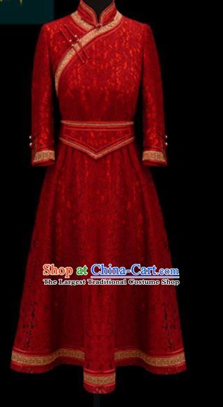 Traditional Chinese Mongol Ethnic Red Lace Dress Mongolian Minority Folk Dance Embroidered Costume for Women