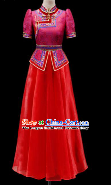 Traditional Chinese Mongol Ethnic National Wedding Red Dress Mongolian Minority Folk Dance Costume for Women