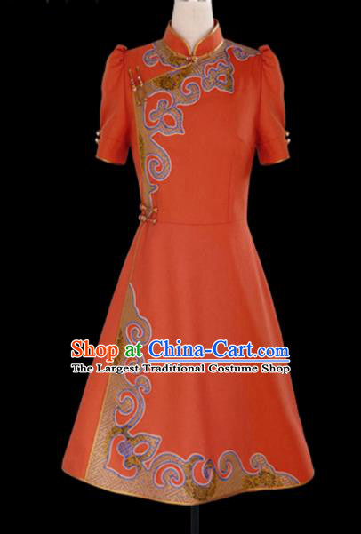 Traditional Chinese Mongol Ethnic National Orange Short Dress Mongolian Minority Folk Dance Costume for Women