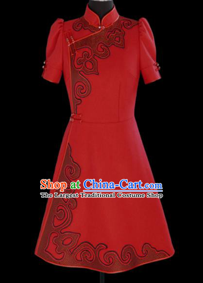 Traditional Chinese Mongol Ethnic National Red Short Dress Mongolian Minority Folk Dance Costume for Women
