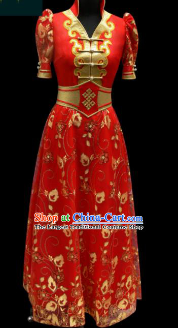 Traditional Chinese Mongol Ethnic National Red Dress Mongolian Minority Folk Dance Costume for Women