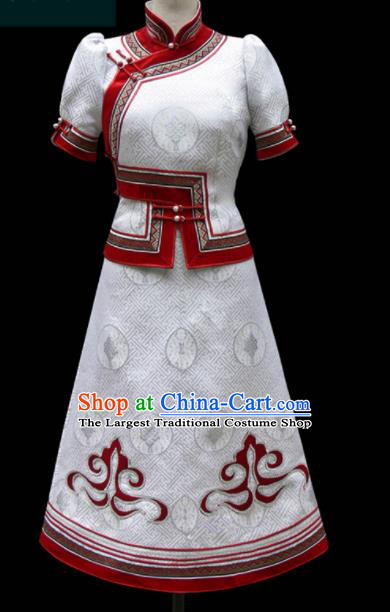 Traditional Chinese Mongol Ethnic National White Dress Mongolian Minority Folk Dance Costume for Women