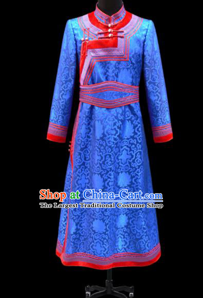 Chinese Traditional Mongol Ethnic National Blue Brocade Robe Mongolian Minority Folk Dance Costume for Men