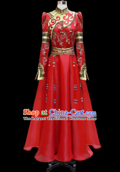 Traditional Chinese Mongol Ethnic National Red Long Dress Mongolian Minority Folk Dance Costume for Women