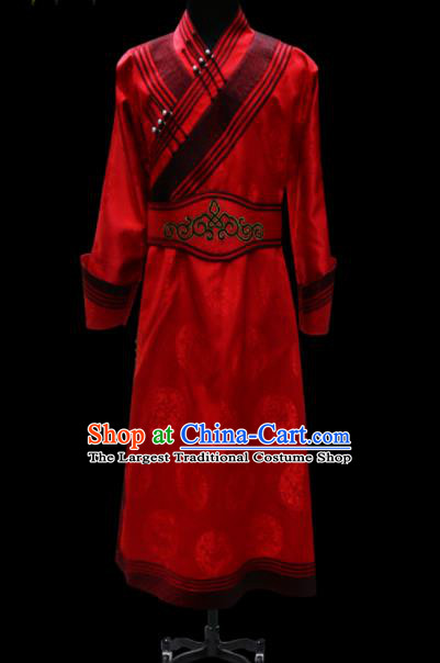 Chinese Traditional Mongol Ethnic National Red Brocade Robe Mongolian Minority Folk Dance Costume for Men
