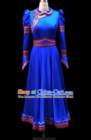 Traditional Chinese Mongol Ethnic National Royalblue Silk Dress Mongolian Minority Folk Dance Costume for Women