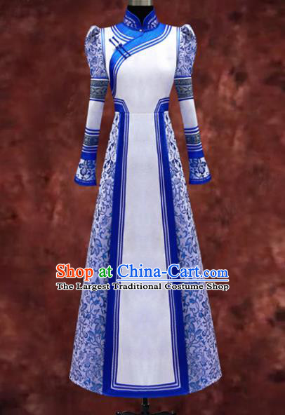 Traditional Chinese Mongol Ethnic National Dress Mongolian Minority Folk Dance Costume for Women