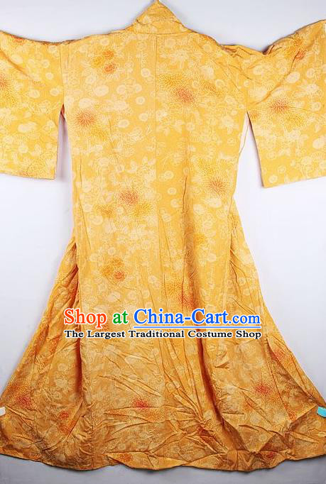 Japanese Traditional Geisha Printing Chrysanthemum Yellow Furisode Kimono Asian Japan National Yukata Dress Costume for Women