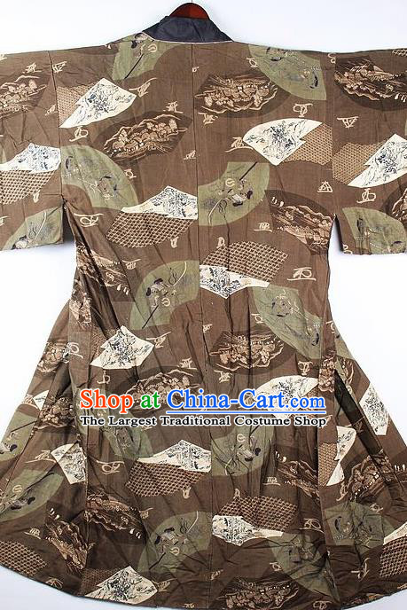 Japanese Traditional Printing Orchid Brown Kimono Asian Japan National Yukata Costume for Men