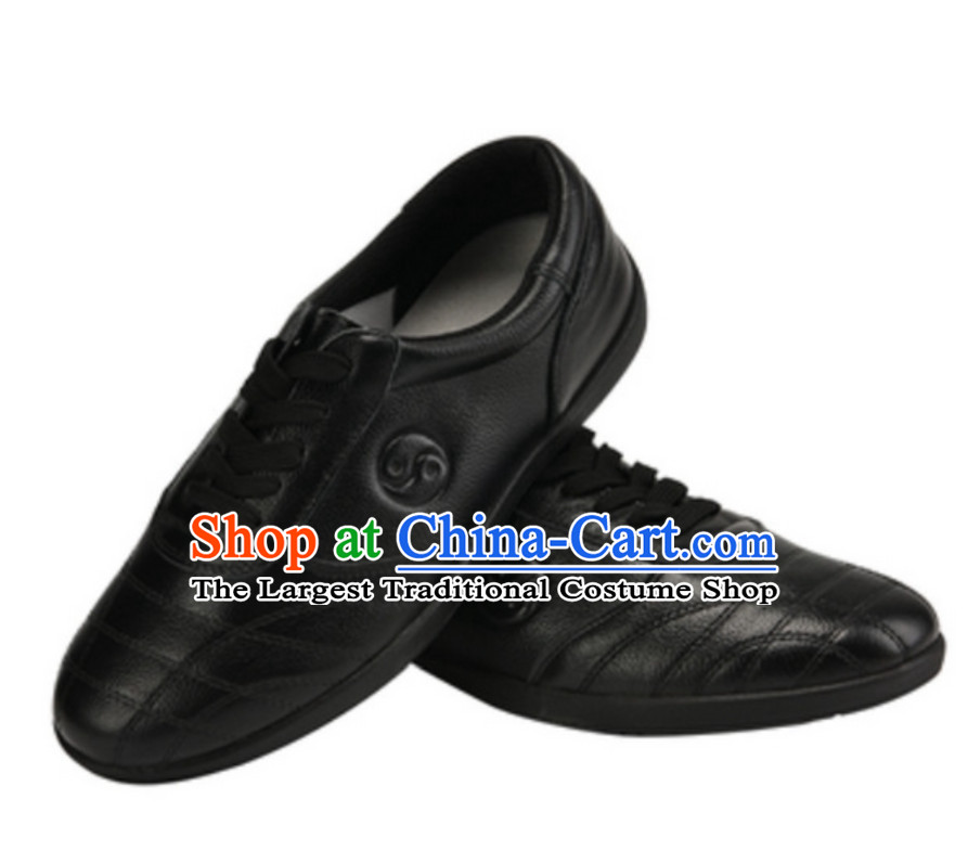 Traditional Black Leather Tai Chi Shoes