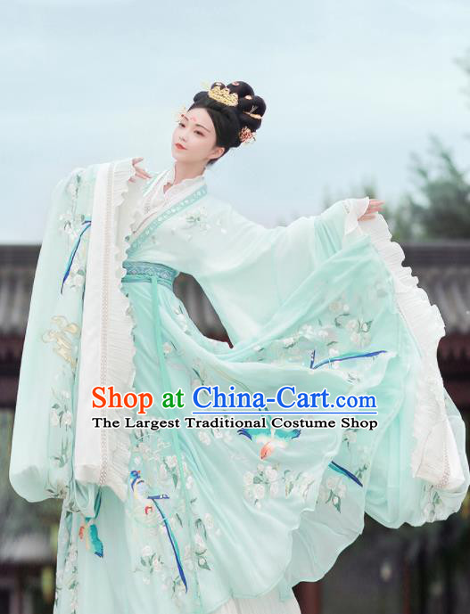 Ancient Chinese Jin Dynasty Embroidered Replica Costume Traditional Imperial Consort Goddess Green Hanfu Dress for Women