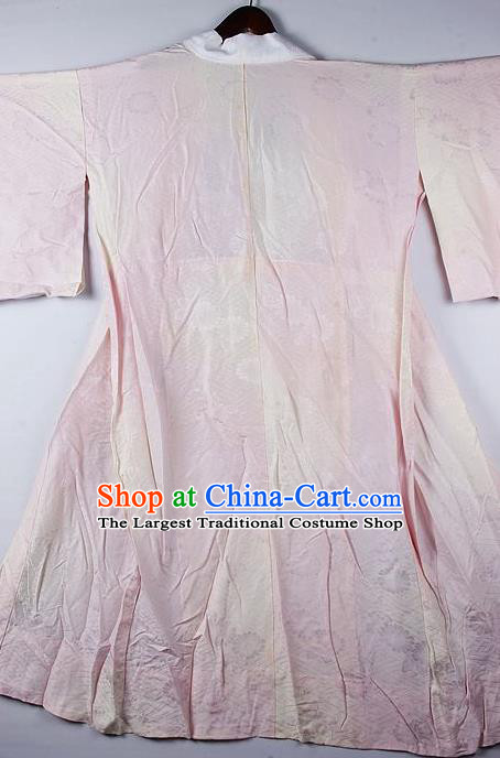 Japanese Traditional Ceremony Costume Printing Daisy Pink Furisode Kimono Asian Japan National Yukata Dress for Women