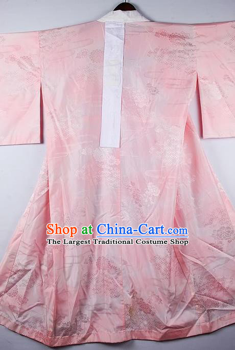 Japanese Traditional Ceremony Costume Printing Chrysanthemum Pink Furisode Kimono Asian Japan National Yukata Dress for Women