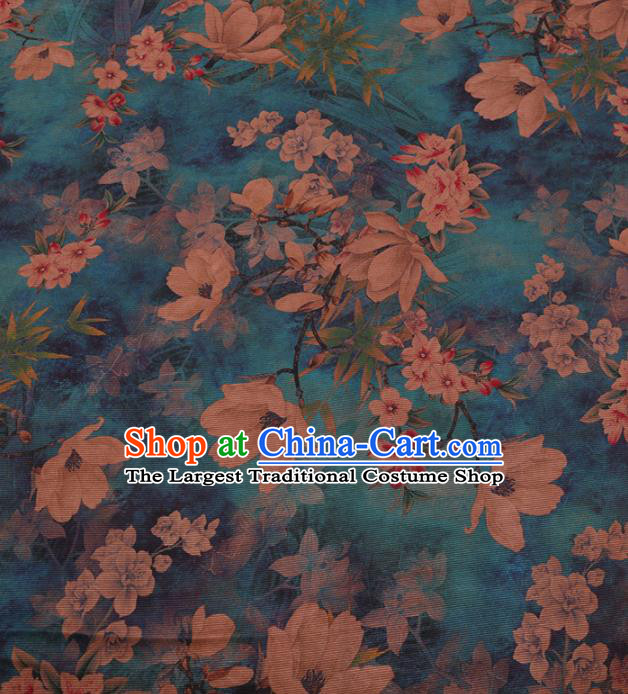 Traditional Chinese Classical Pear Flowers Pattern Design Green Gambiered Guangdong Gauze Asian Brocade Silk Fabric