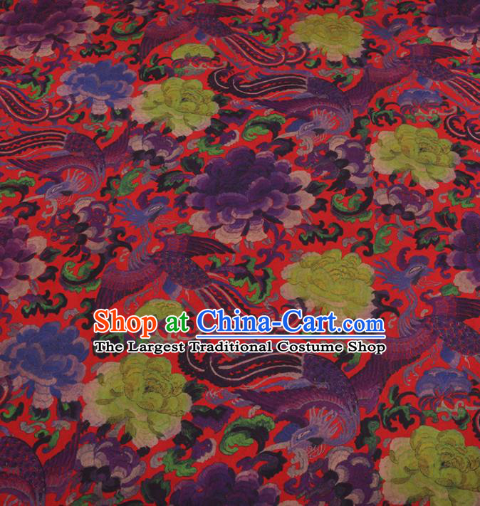 Traditional Chinese Classical Phoenix Peony Pattern Design Red Gambiered Guangdong Gauze Asian Brocade Silk Fabric