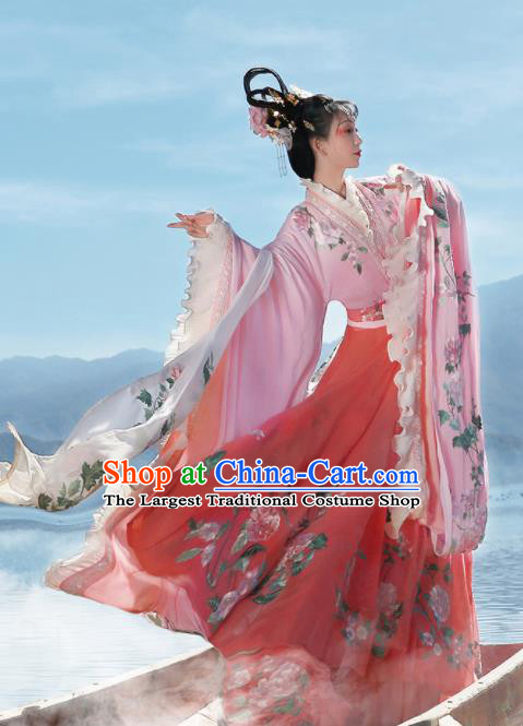 Ancient Chinese Legend Goddess Peony Pink Hanfu Dress Traditional Jin Dynasty Imperial Consort Embroidered Replica Costume for Women