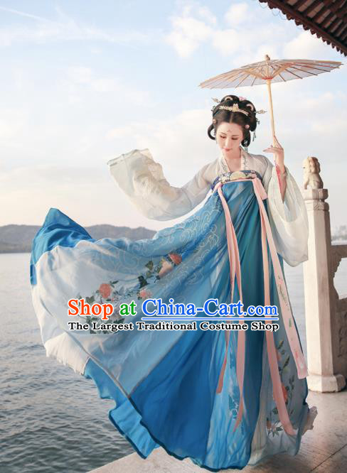 Ancient Chinese Court Princess Blue Hanfu Dress Traditional Tang Dynasty Embroidered Replica Costume for Women